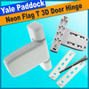 White Paddock Neon 3D T Flag Door Hinge by Yale