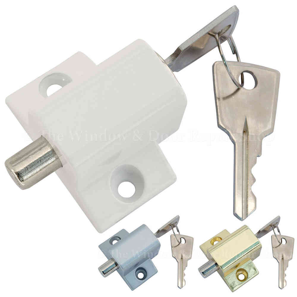 Sliding Patio Door Or Window Lock Security Locking Push Catch Bolt 2 Keys